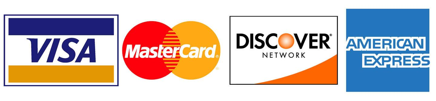 Accepted Credit Cards - Visa, MasterCard, Discover, American Express